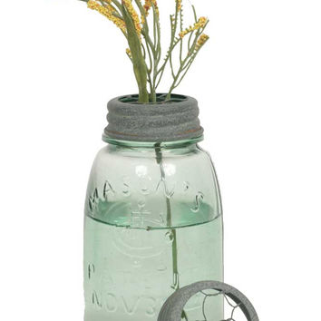 Midget Pint Mason Jar with Chicken Wire Flower Frog - Barn Roof Finish - Set Of 4 - *FREE SHIPPING*