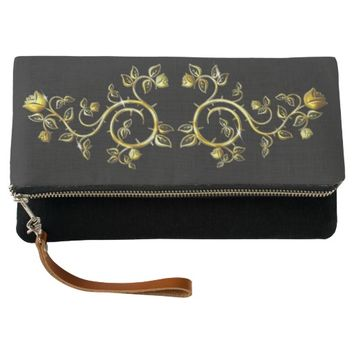 golden ornament,on black backround clutch