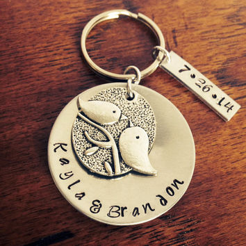 Love Birds-Wedding Gift-Couples Hand Stamped Key Chain/Necklace