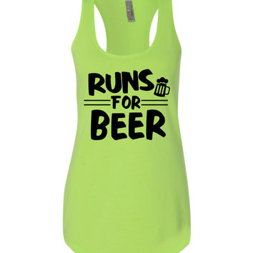 Runs for Beer Running tank  team or st patricks day race top