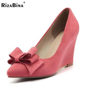 RizaBina Size 33-43 Office Lady High Wedges Shoes Women Pointed Toe Bowtie Solid Color Wedges Pumps Party Club Female Footwears