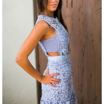 Lavender lace dress with cut out detail | Debbie | escloset.com