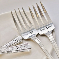 I Do, Me Too - Vintage Wedding Cake Fork Set Personalized with Your Wedding Date by jessicaNdesigns on Etsy