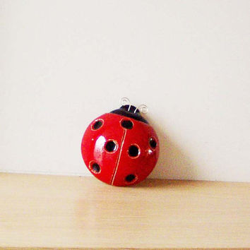 Ceramic ladybug sculpture, red black ladybug wall hanging, spring decor ladybug of earhtenware clay, ladybug paper weight/ art object