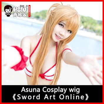 HSIU 100cm long wig Sword Art Online Cosplay Wig Asuna Costume Play Wigs Halloween party Anime Game Hair High Quality