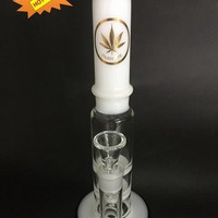 White Glass Water Pipe bubbler with 2 honey comb Percolators