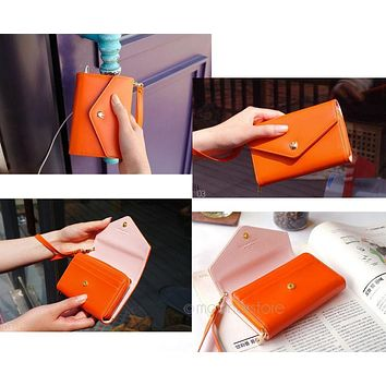 Wallet Women\'s Fashion Lovely Crown Concise Wallet Purse Cluth cute Card Holders Mobile Phone Bags for iPhones 5 Samsungs