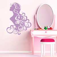 Wall Decal Fashion Beauty Salon Face Girl Woman Long Hair Design Vinyl Decals Wedding Hair Salon Hairdressing Living Room Home Decor 3778