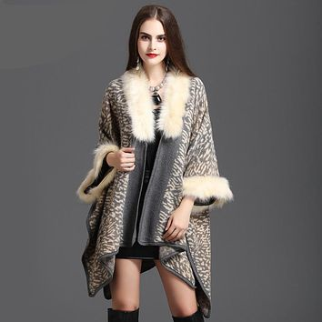 Winter Women Sweater Cardigan Female High Quality  Faux Fox Fur Collar Poncho Cape Wool Shawl Cape 3 Colour