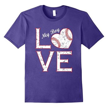 Love My Boy Baseball Mommy & Daddy T-Shirt Vintage Heart Tee