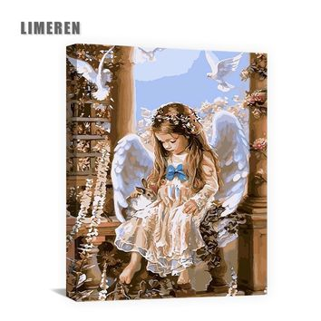 Angel Oil Painting By Numbers DIY Rabbit Digital Canvas Wall Art Handpainted by number For Home Decoration Poster and Art