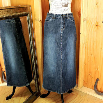 Long denim skirt / 90s denim maxi skirt / size S 4 / 6 / long jean skirt / Eddie Bauer denim skirt