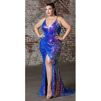 Plus Size Long Fitted Sexy Sequin Gown Lapis Iridescent Finish Lace Up Back