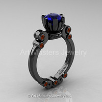 Caravaggio 14K Black Gold 1.0 Ct Blue Sapphire Brown Diamond Solitaire Engagement Ring R607-14KBGBRDBS