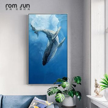 Nordic Minimalist style Marine Animal Whale dolphin Canvas Art Print Nursery Art Prints Anime Poster Modern Abstract Wall Decor
