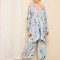 Floral & Leaf Print Cami Pajama Set With Robe