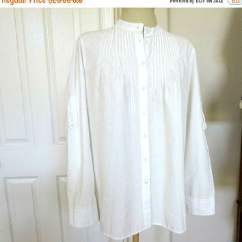 White US Polo Association Peasant Shirt Vintage Cotton Blouse with Insignia