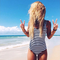 2017 Cool  Monokini Black White Striped Backless One Piece Swimsuit