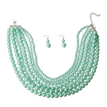 Mint Pearl Necklace Set