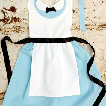 ALICE in Wonderland Disney Princess inspired Child Costume APRON. Dress up Play Birthday Tea Party Fits 12-24 mo 2t 3t 4 5 6 7 8 9 10 11 12