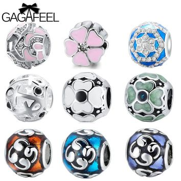 GAGAFEEL DIY Beads For Jewelry Making Fit For Pandora Necklaces Bracelets Bangle Women Jewlery With Zircon Flower Round Bead
