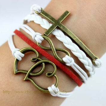 Cross and heart charm bracelet, rope bracelet - alloy bracelet, presents the best girl