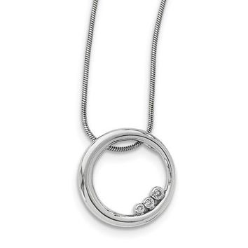 Sterling Silver White Ice Diamond Single Ring 3-Stone Circle Necklace