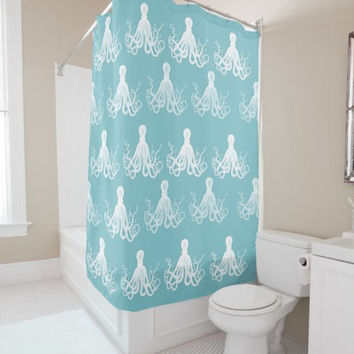 "Shower Curtain - 'Octopus Pattern' - 71"" by 74"" Home, Decor, Bathroom, Bath, Dorm, Girl, Christmas, Gift, Ocean, Turquoise, Octopus, Aqua"