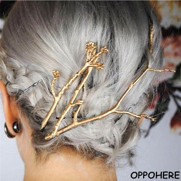 Tree Clip Fashion Novel Designer Vintage Metal Branches Hairpins for Women Wedding Hair Jewelry Accessories