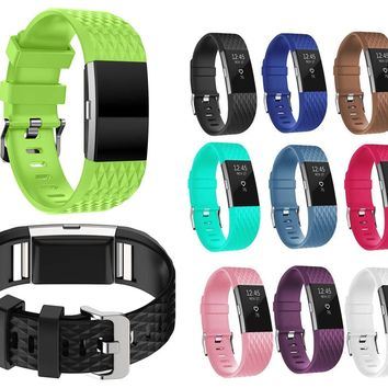 Silicone Carbon Wristband Band Strap With Schnalle for Fitbit Charge 2