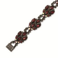 Black-plated Red Crystal 7.25in Bracelet - 1928 Antiqued Boutique - Vintage Styling - Jewelry: Jewelry: Amazon.com