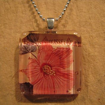 "Pink Hibiscus Flower Square Glass Pendant with 24"" Ball Chain Necklace Floral Jewelry"