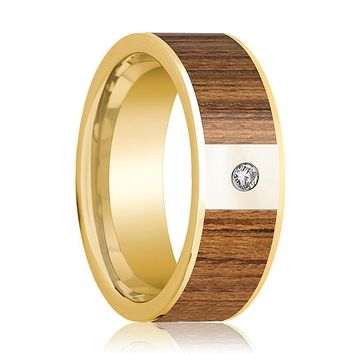 Mens Wedding Band Polished 14k Yellow Gold Wedding Ring with Teak Wood Inlay & Diamond - 8mm