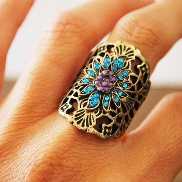 $18.50 Vintage brass ring with aqua crystals and purple beads by JBeseda