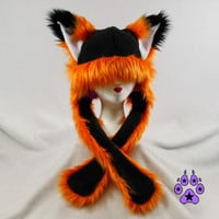 Orange FOX kitsune cat Puffet Hat warm rave fleece ear flap strap furry goth anime cosplay ski