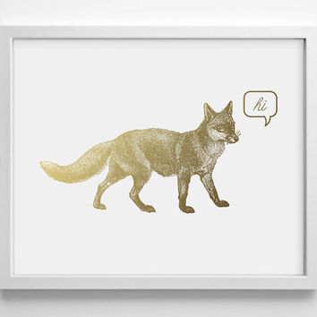 Hi Fox Faux Gold Foil Art Print- Minimalist Art- Home Office Bathroom Decor- Housewarming Gift - Wedding Gift - Baby Nursery Decor - Animal