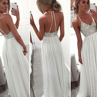 White A-line V Neck Sequin Long Prom Dress, Formal Dress