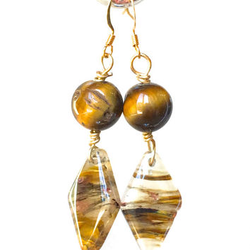 Golden Brown Dangle Earrings, drop Tiger Eye earrings neutral Cherry Quartz earrings brown beige earrings gold drop earrings gift for her