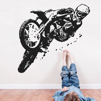 Motocross Wall Decal, Dirt Bike Wall Sticker, Motorsport Enduro Bike Wall Mural Decor, Motorcycle Racing Room Decoration Kids Bedroom se168