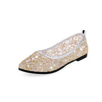 Lace Flat Shoes Women Slip on Fashion Pointed Toe Glitter Women Summer Shoes Comfortable Flats Lace Women Shoes