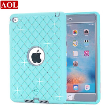 For iPad mini 4 Case Bling Rhinestone Kids Safe Shockproof Heavy Duty Silicone Hard Case Cover w/Screen Protector+Pen
