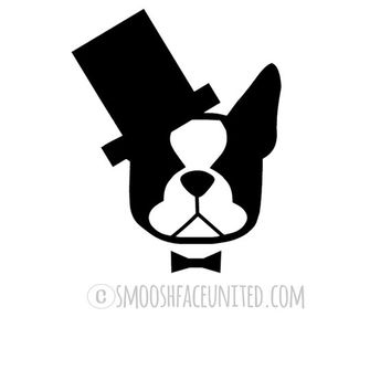 Boston Terrier sticker - American gentleman cutout dog decal - adorable Boston with askew top hat and bow tie
