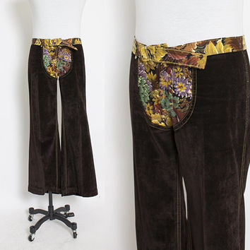 "Vintage 1960s Men's Pants - Crushed Velvet Floral Mod Rocker Pants - 34"" x 29"""