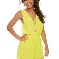 Off The Grid Romper - Neon Yellow