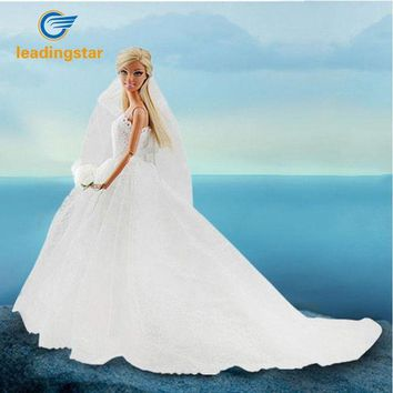ONETOW LeadingStar Wedding Dress for Barbie Doll Princess Evening Party Clothes Wears Long Dress Outfit Set for Barbie Doll with Veil