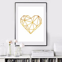 Gold Foil Wall Art best gold heart decorations products on wanelo