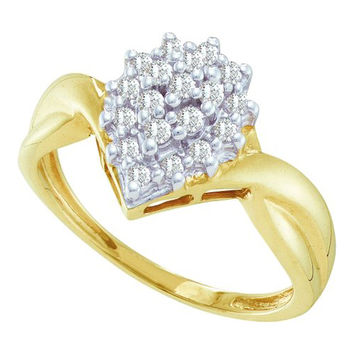 Diamond Ladies Cluster Ring in 10k Gold 0.25 ctw