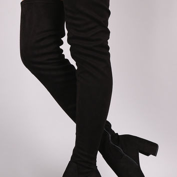 Speed Limit 98 Crescent Block Heel Vegan Suede Over The Knee Boots