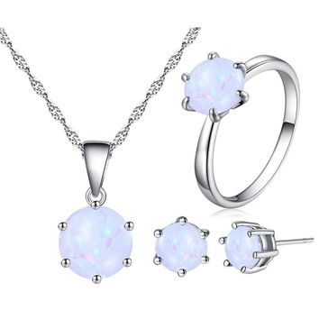 Jiayiqi 2018 Fashion Silver Color Necklace Earrings Ring Opal Jewelry Sets For Women Round Shape Pendant Chain Wedding Jewelry