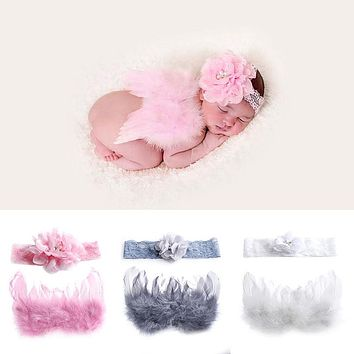 Newborn Baby Flower Headband+Wing Prop Outfits Costume Photo Photography Set